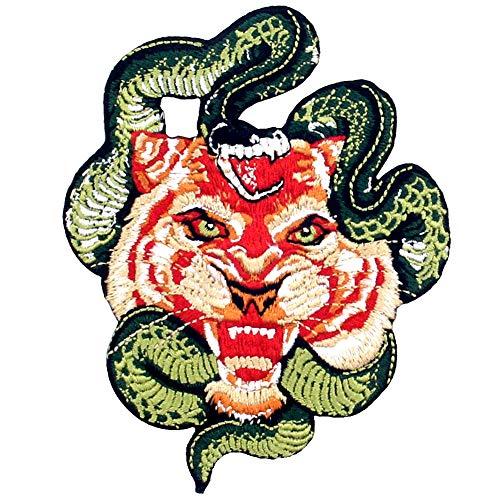Aufnäher, bestickt, Design: Brüllender Tiger und Schlange, zum Aufbügeln oder Aufnähen