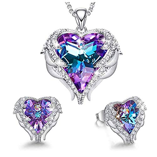 MINCHEDA ala del ángel Collar y Pendientes, Conjunto de Joyas para Mujer de Cristal - Regalo a tu Novia con Exquisita Caja de Regalo