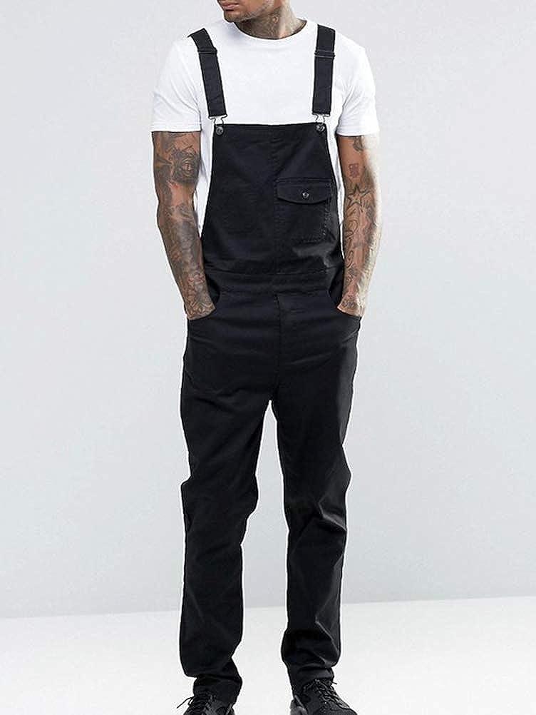 Shownicer Homme Jeans Salopette Overall Slim Classique Skinny Regular Combinaisons Grande Taille Pantalon en Denim R/étro Salopette avec Bretelle Jumpsuit