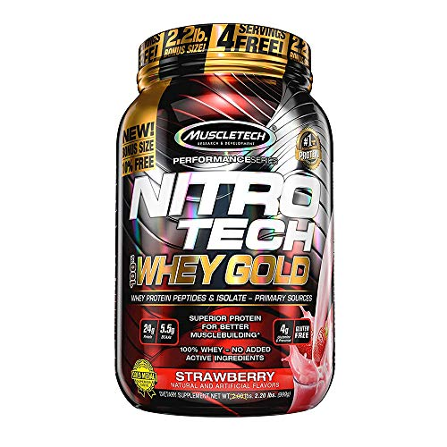 Whey Protein Powder | MuscleTech Nitro-Tech Whey Gold Protein Powder | Whey Protein Isolate Smoothie Mix | Protein Powder for Women & Men | Strawberry Protein Powder, 2.2 lbs (31 Serv)-package varies