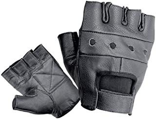 Bikers Shield Leather Fingerless Gloves (Black, Small)