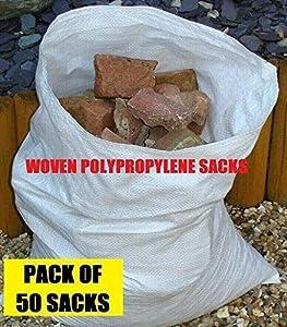 50 sacos de tela de polipropileno para escombros, de 55,88 x 76,2 cm