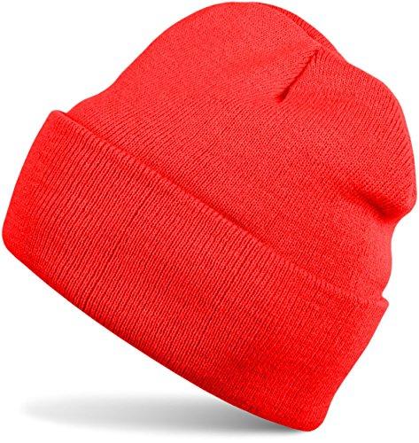 styleBREAKER Klassische Beanie Strickmütze für Kinder, Feinstrick Mütze doppelt gestrickt, Kindermütze 04024030, Farbe:Rot