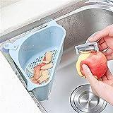 Kitchen Sink triangular del tamiz de drenaje de verduras Frutas Escurridor cesta ventosa esponja estante de almacenamiento ToolSink Filtro Shelf (Color : Star blue)