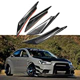 4x Carbon Fiber Appearance Car Front Bumper Lip Splitter Fins Body Spoiler Canards Refit ABS