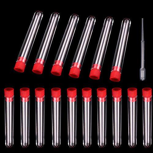 Tubos de ensayo plásticos,Dancepandas 40 Pcs Tubo de ensayo de tapa Rojo Impermeable Duro Irrompible(7,5ml)+Cuentagotas