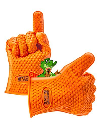 Silicone Gator Glove Replace Oven Safety Mitts and Barbecue Meat Handling Forks