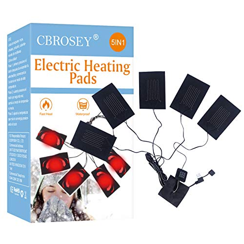Kleidung Heizkissen,Elektrisches Heizkissen,Clothes Heating Pad,5-in-1 wasserdichte elektrische USB-Stoffheizkissen für Wintercamping im Freien und Haustierkissenmatte