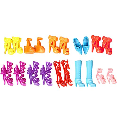 Christmas Decoration 10 Pairs Lovely Doll Shoes High Heels Sandals Accessories Compatible with Doll Toys Children Birthday Xmas Gifts Random Styles