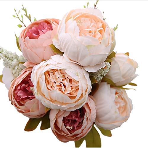 Houda künstliche Kunstblumen Seidenblume kunstblumen pfingstrosen Künstliche Pfingstrose Hochzeitssträuße Dekoration für Zuhause Küche Büro Garten drinnen und draußen (champagnerfarben)