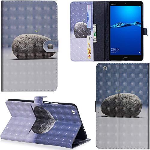 Ooboom Huawei MediaPad M3 Lite 8 8,4 Zoll Hülle 3D Flip PU Leder Schutzhülle Tasche Hülle Smart Cover Ständer mit Kartenfach Integrierten Kartensteckplätzen Magnetverschluss - Stein