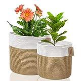 2 unids / set canasta de plantas 20 cm y 25 cm maceta tejida de algodón canasta de lavandería plegable de interior canasta de almacenamiento en el hogar
