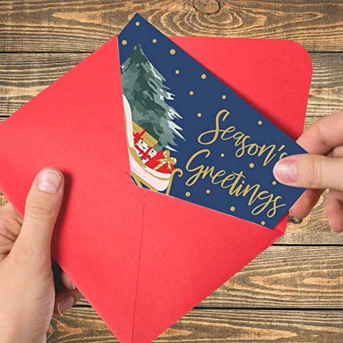"""Christmas Cards Set - 24 Gold Foil Holiday Cards with Red Envelopes – 6 Assorted Designs featuring Traditional Yuletide Images! Bulk Greeting and New Years Cards - 4x6""""                Hallmark Boxed Christmas Cards, Green and Gold Santa Claus (12 Cards and 13 Envelopes) (5XPX9452)                All Occasion Greeting Cards - Watercolor Nature Design - Beautiful Leaves Pattern - Includes 48 Cards and Envelopes - 4 x 6 Inches                Festive Christmas Cards, Blank Greeting Cards with Envelopes (Red, White, 4 x 6 In, 48 Pack)                Whaline 40 Pack Christmas Greeting Cards with Envelopes Glue Point Assorted Merry Christmas Cards Winter Holiday Greeting Notes for Family Christmas New Year Party Gift Favor Supplies, 4 x 6 Inch                Christmas Cards with Envelopes, 48-Count Christmas Cards Boxed, 6 Cute Animal Designs, 4 x 6 Inches, Blank Inside Christmas Cards Bulk, Holiday Xmas Greeting Cards…                24 Wallet-Sized Kraft Buffalo Plaid Retro Red Christmas Pickup Truck, RV Camper & Woodland Animal Gift Tags for The Holidays by Nerdy Words                Papyrus Christmas Cards Boxed, Chalkboard Holiday Tree (14-Count), 1 ea (5886331)"""
