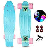 Jaoul Cruiser Skateboard for Girls Kids Age 6-12, Complete Skate Board 22 Inch Mini Standard Skateboards with LED Light Up Wheels