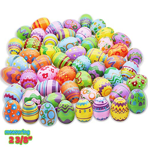 48 Pcs Plastic Printed Bright Easter Eggs 2 3/8' Tall for Easter Hunt, Basket Stuffers Fillers, Classroom Prize Supplies, Filling Treats and Party Favor