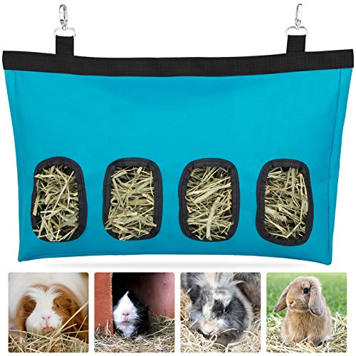 Rabbit Hay Feeder Bag, Guinea Pig Hay Feeder Storage ,Hanging Feeding Hay for Small Animals Large Size 600D Oxford Cloth Fabric