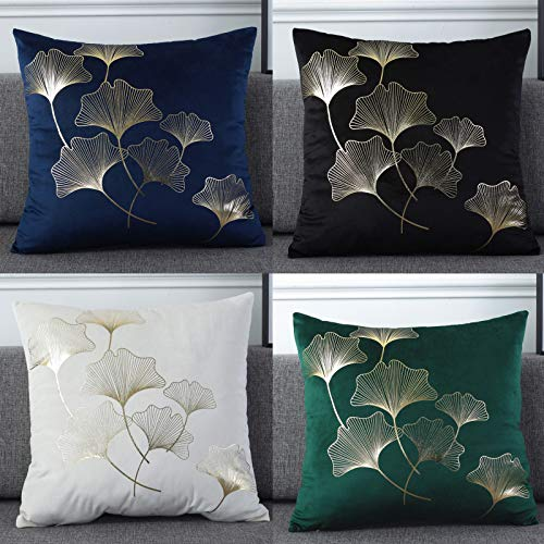 QXbecky Holland Velvet Bronzing Square Cushion Cover 5pcs high-Grade Flannel Pillowcase Without core 3 , 4pcs Geometric Abstract 45cm