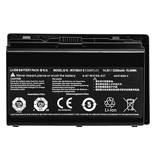 ASKC W370BAT-8 6-87-W37SS-427 41CR18/65-2 Laptop Akku für Clevo W350ET W350ETQ W370ET W370SS W355SS W370 Sager Np6350 Np6370 Series Notebook 14.8V 5200mAh