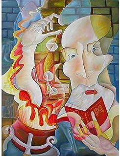 """Pintura Grande Lienzo al Óleo Arte Abstracto Moderno """"EL ALCHEMISTA"""" por DOBOS, Cuadro Original para Decoración del Hogar"""