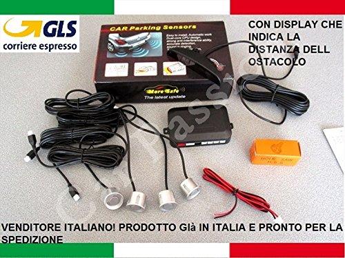 Kit 4 capteurs de stationnement pour voiture, camionnette, camping car Affichage LED acoustique Gris argenté À peindre Manuel en italien (français non garanti)