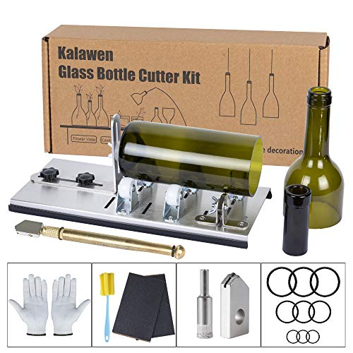 Kalawen Glass Bottle Cutter, Bottle Cutter & Glass Cutter Kit for Wine Beer Whiskey Alcohol Champagne Bottles with Glass Cutter Tool Kit DIY
