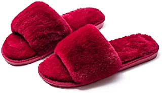 Buildhigh Womens Open Toe Anti-Slip Indoor Faux Fur Bedroom Flat House Slippers