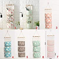7 styles Fashion Flamingo Pattern Cotton Linen Wardrobe Three Layers Storage Bag Door Wall Hanging Pouch Toys Organizer Pockets