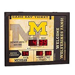 Team Sports America NCAA Bluetooth Scoreboard Wall Clock, Michigan Wolverines