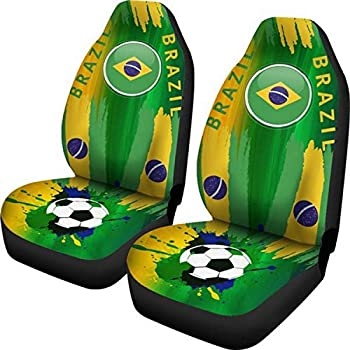 Muggalicious Soccer Car Seat Covers - Brazil World Cup for Front Bucket Seats - Universal Fit for Most Cars and SUV