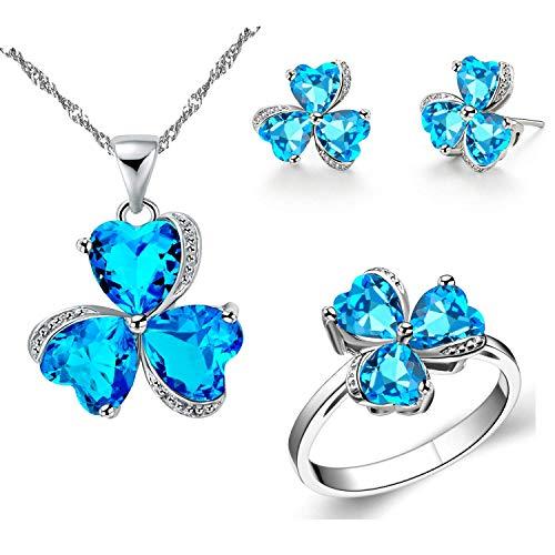 De las mujeres de la moda del corazón de cristal de la suerte de 3 hojas del trébol de la joyería conjunto colgante collar pendientes anillo de boda joyería regalo T289