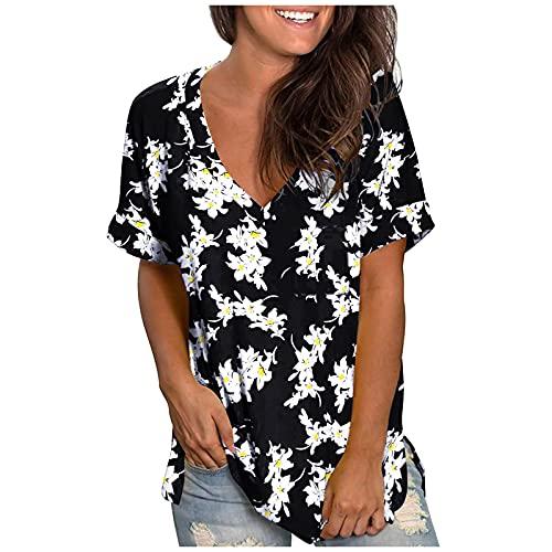 Tops para Mujer Camisetas de Manga Corta con Cuello Redondo Camiseta Informal Holgada para Viajes Senderismo