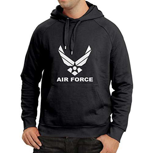 lepni.me Sudadera con Capucha United States Air Force (USAF) - U. S. Army, USA Armed Forces (X-Large Negro Blanco)