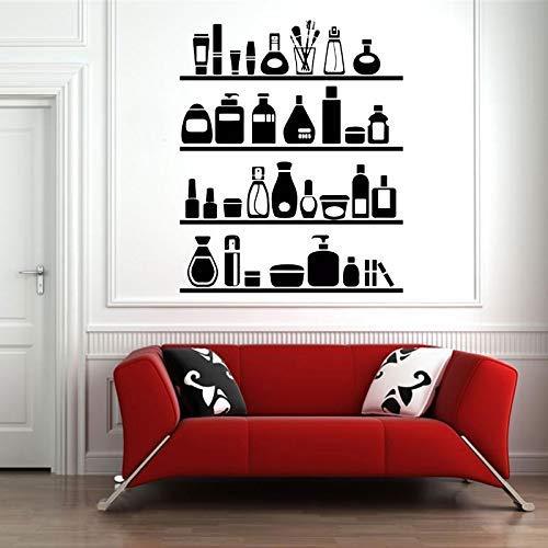 Cosmétiques Mur Vinyle Decal Décor À La Maison Art Autocollant Lotion Rouge À Lèvres Mascara Vernis À Ongles Salon De Beauté Boutique Maquillage Mural 57X70 Cm