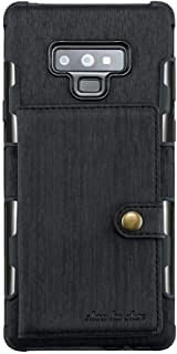 Samsung Galaxy Note 9 Brushed Leather coated case cover with card slots - Black.