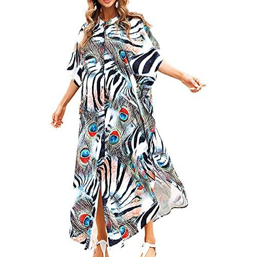 Snyemio Kaftan Vestido Largo de Playa Mujer Maxi Pareo Floral Verano Túnica Boho Talla Grande Kimono, Color 13, Talla única