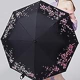 傘 自動傘の色レディース折りたたみ傘サンプロテクションギフトを変更三つ折り傘 YYFJP (Color : ブラック, Size : 1)