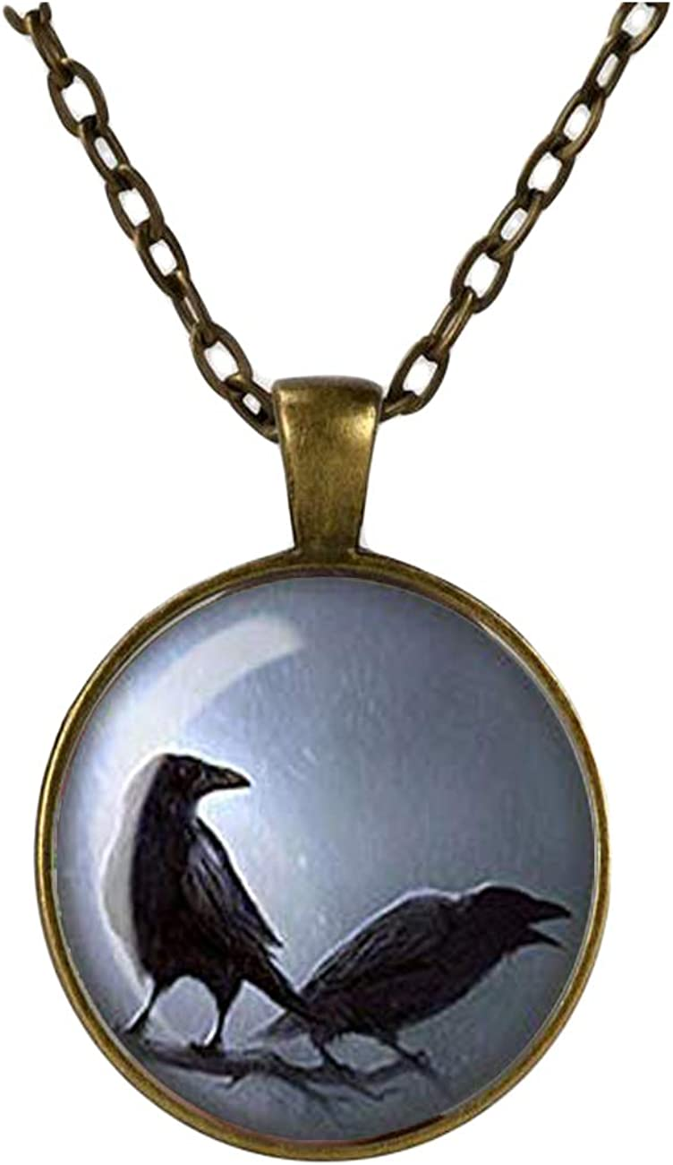Gothic Raven Necklace, Crow Pendant, Glass Cameo Cabochon, Pair of Ravens, Tile Necklace Jewellery, Gothic Gift For Her, Alternative Jewelry (Copper)