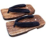 CRB Fashion Mens Japanese Traditional Kimono Wodden Clogs Slippers Sandals (Size 41, Black)