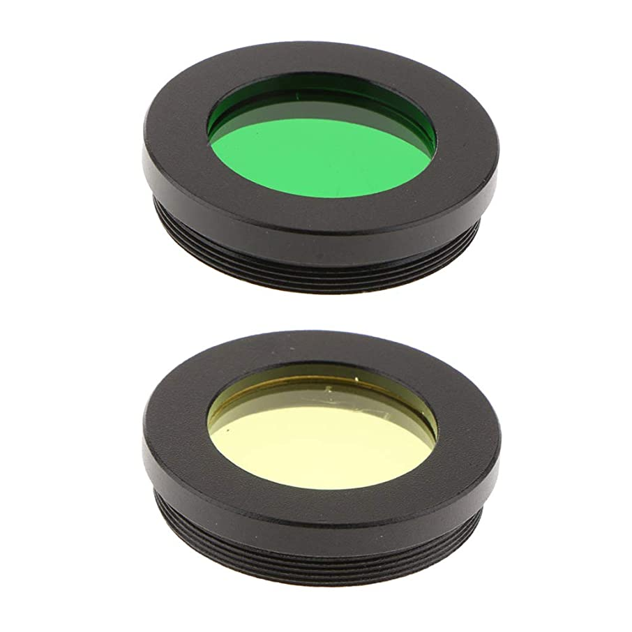 kesoto 1.25inch Telescope Eyepiece Color Filters Set, Green & Yellow, Lens Filter Moon Planet Lunar Planetary Deep Sky Object Surface Detail Observation