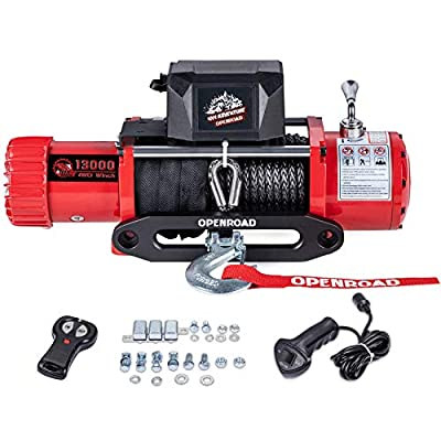 OPENROAD 13000 lb Electric Winch,12v Truck Winch,Towing Winch for Jeep,SUV,Trailer and Truck Come with Wireless Remote Control and Removable Control Box
