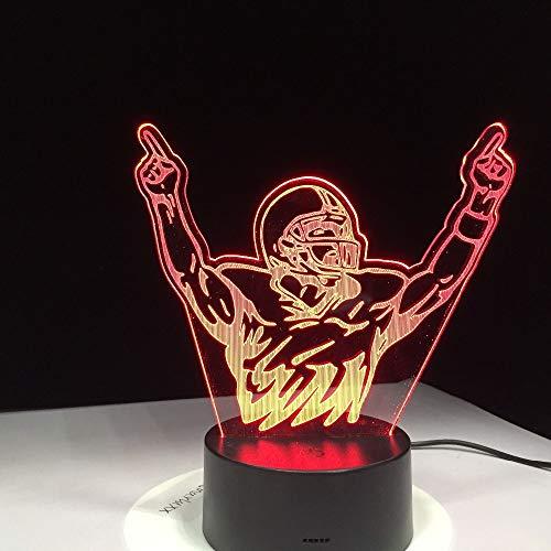 Motocross Fahrrad Rugby Spieler Champion Mann Nachtlichter LED USB Schreibtischlampe Urlaub Neuheit 3D Tisch Dekor Geschenke