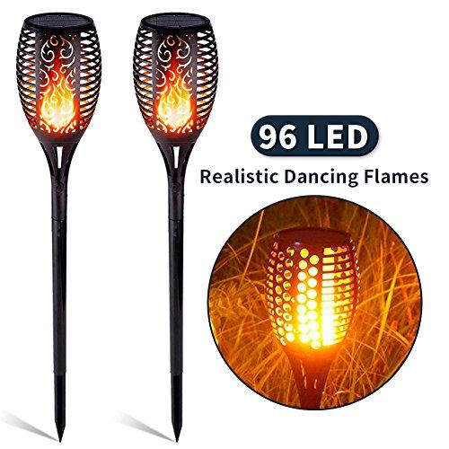 Solar Garten Flammen Fackeln 96 LED Gartenleuchten Outdoor Solar Spotlight IP65 Wasserdicht für Hinterhöfe, Gärten, Rasen Beleuchtung (2 Pack)