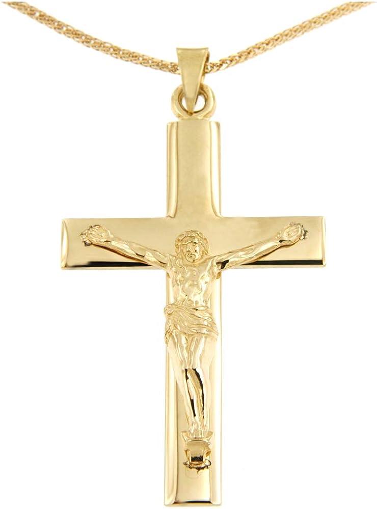 Lucchetta  collana per uomo con crocifisso grande in oro giallo 14k /585(10gr) CR1013-MV25
