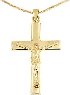 Lucchetta Uomo - Collana con Crocifisso Grande in Oro Giallo 14k con Catena 50cm - 10 grammi - Made in Italy Certificato, ...