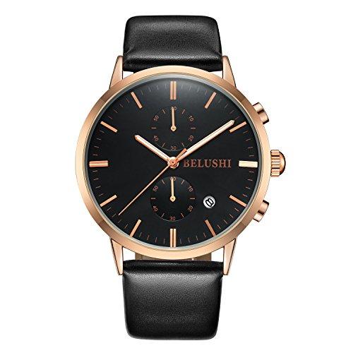 Los Hombres de la función empresarial Calendario Reloj de Cuarzo Five-Pin cronómetro Resistente al Agua Deporte Relojes Negro G
