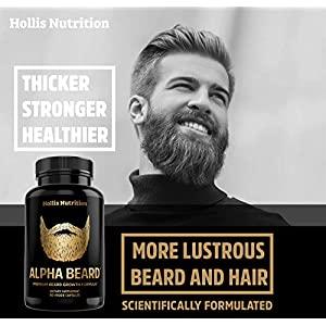 Alpha Beard Growth Vitamins | Biotin 10,000mcg, Patented OptiMSM®, goMCT®, Collagen | Beard Growth Supplement for Men | for All Hair Types | Grow Fuller, Thicker, Healthier Facial Hair - 60 Capsules