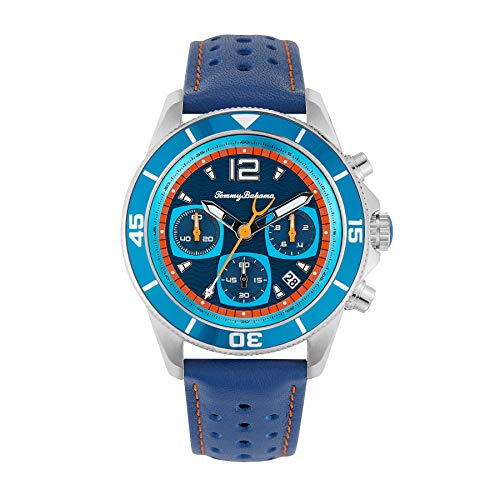 Tommy Bahama Men's Stainless Steel Japanese Quartz Leather Calfskin Strap, Blue, 20 Casual Watch (Model: 304361SLV040)
