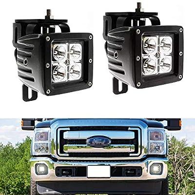 iJDMTOY® 40W CREE High Power LED Fog Light Kit w/ Bumper Metal Mounting Brackets For 1999-2016 Ford F-250 F-350 F-450 Super Duty