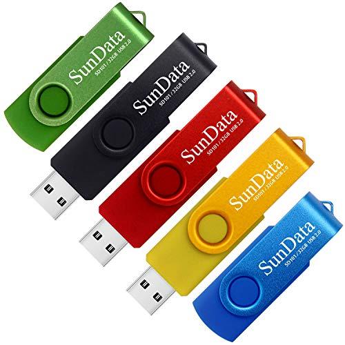 SunData Chiavetta USB 32GB 5 Pezzi PenDrive Girevole USB2.0 Flash Drive Thumb Drive Memoria Stick per Archiviazione Dati con Luce LED (5 colori: Nero Blu Verde Rosso Oro)