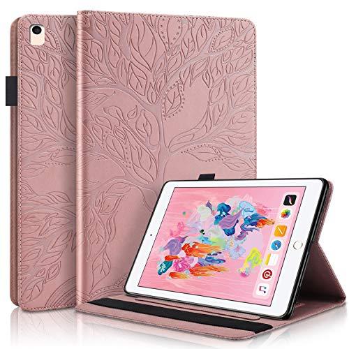 YKTO Funda Protectora de Cuero con Case Inteligente para Tableta de PU con Soporte, Portalápices, Ranuras para Tarjetas de Billetera para Despertador/Sueño para iPad 5/6/8/9 - Oro Rosa